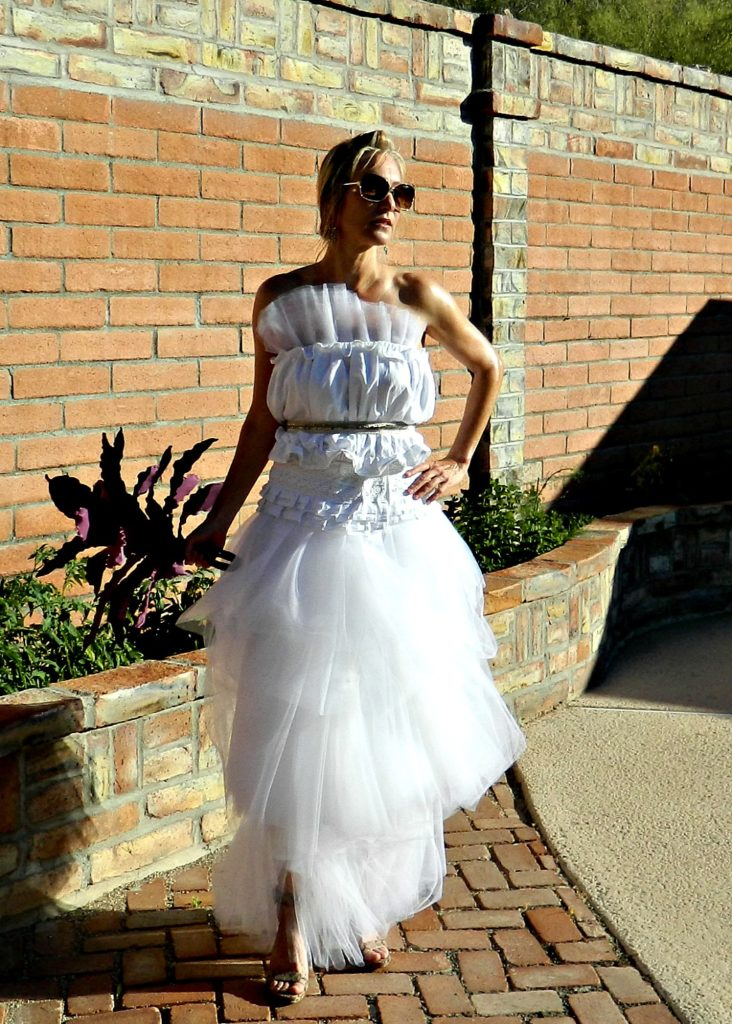 The Bonjour Linen Tulle Jeweled Belt Top For Wedding Dresses